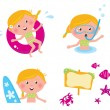 Vector collection summer icons, swimming kids — Stock Vector #5548773