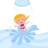 Happy smiling kid jumping from water slide tube — Stock Vector