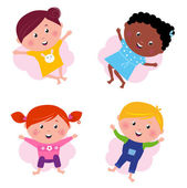 Multi cultural different jumping children - vector isolated on w — Stock Vector