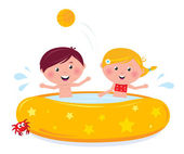 Little girl and boy splashing in the swimming pool — Stock Vector
