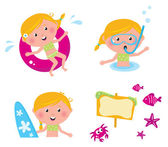 Vector collection summer icons, swimming kids — Stock Vector
