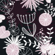 Royalty-Free Stock Vector Image: Retro floral pattern or backround - black, white and pink