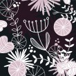 Stock Vector: Retro floral pattern or backround - black, white and pink