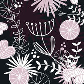 Retro floral pattern or backround - black, white and pink — Stock Vector
