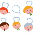 Stock Vector: Cute cooking and icons set - chef family ( isolated on white )