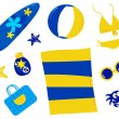 Summer and beach icons and accessories - retro ( yellow and blue — Stock Vector