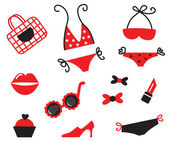 Bikini and sexy women items collection - red & black ( vector ) — Stock Vector