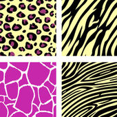 Pink & yellow animal leopar, tiger, zebra and giraffe pattern / — Stock Vector