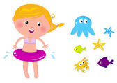 Cute swimmer girl and ocean animals icons — Stock Vector