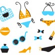 Retro bikini icons and accessories isolated on white - blue, ora — Stock Vector
