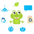 Cute green Frog character, Ecology, Nature and Water icons and s — Stock Vector #5785388