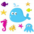 Cartoon Sea fishes and animals icons isolated on white backgroun — Stock Vector