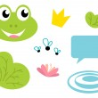 Cute Frog queen icons - isolated on white — Stock Vector #5785399