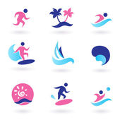 Water sport, vacation and exotic icons - pink and blue — Stock Vector