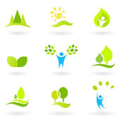 Tree, leaves and ecology vector icon set (blue and green) — Stock Vector