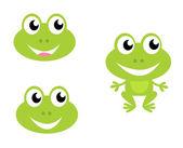 可爱绿色卡通青蛙-孤立在白色的图标 — 图库矢量图片