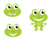 Cute green cartoon frog - icons isolated on white — Stock Vector