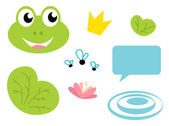 Cute Frog queen icons - isolated on white — Stock Vector