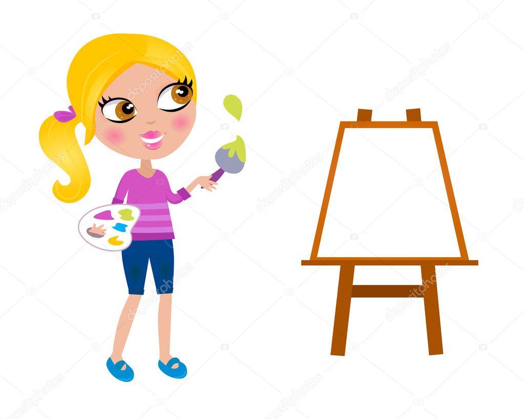 Girl At Easel Artist English Painting