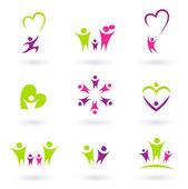 Family, relationship and icon collection ( green, pink) — Stock Vector