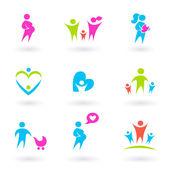 Rodina, matka a mateřství ikony - izolované na bílém — Stock vektor