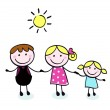 Doodle family - mother, father and kid isolate on white — Stock Vector