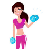 Beautiful brunette fit woman exercising with weights in her hand — Stock Vector