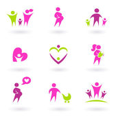 Maternity, pregnancy and health icons isolated on white - pink, — Stock Vector