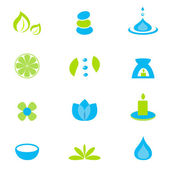 Wellness zen natural and spa icons and elements - green & blue — Stock Vector