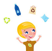 Little boy support recycling isolated on white — Stock Vector
