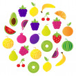 Fresh fruit & berries circle isolated on white — Stock Vector