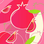 Wild fresh Pomegranate fruit summer background - pink, white, gr — Stock Vector