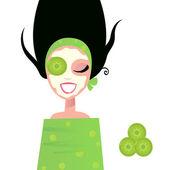 оздоровительный женщина с маска & зеленый огурец — Cтоковый вектор