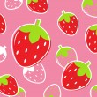 Fresh Strawberry Fruit pattern or background: pink & red — Stock Vector #6039604