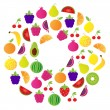 Fresh Fruit Circle isolated on white background — Stock Vector