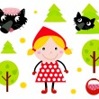 Stock Vector: Little Red Riding Hood & Black Wolf icon collection