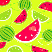 Fresh Summer Melon retro background / pattern - pink and green — Stock Vector