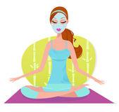 Beautiful woman with facial mask sitting on yoga mat and meditating - green — Stock Vector