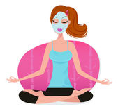 Cute young Woman with Facial mask doing yoga pose - pink — Stockvektor