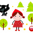 Cute Red Riding Hood, Wold & Accessories, Icons - Stock Vector