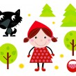 Cute Red Riding Hood, Wold & Accessories, Icons — Stock Vector