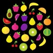 Fresh tasty stylized fruit circle isolated on black — Stock Vector