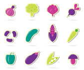 Stylized retro Vegetable icons - isolated on white ( pink & gree — Stock Vector