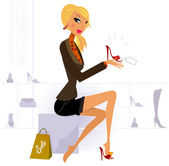 Blond hair woman buying fashion red Shoe in Store — Stock Vector