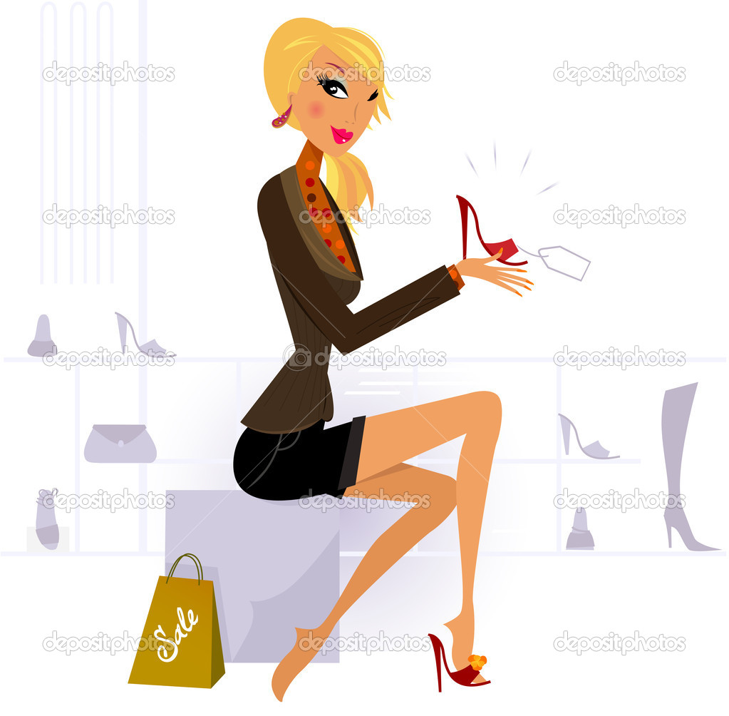 Blond hair woman buying fashion red Shoe in Store   Stock Vector