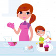 Happy mother with her son cooking in the kitchen — Stock Vector