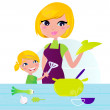 Mother with child cooking healthy food in kitchen — Stock Vector