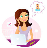 Office woman dreaming about massage — Stock Vector