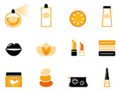Luxury cosmetics and wellness icon set ( orange & black ) — Stock Vector