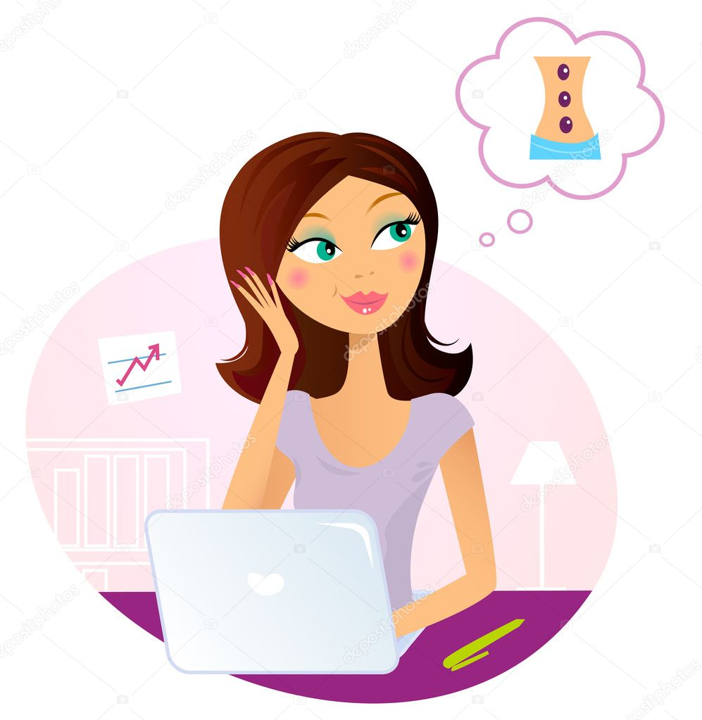 Busy office woman dreaming about relaxation. Vector Illustration. — Stock Vector #6172440